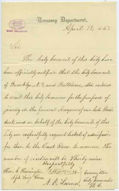 Letter signed L.W. Owen and N.D. Larner, Committee of City Councils, Treasury Department, to Hon. G. Harrington, Asst. Sec'y. Treas., April 18, 1865