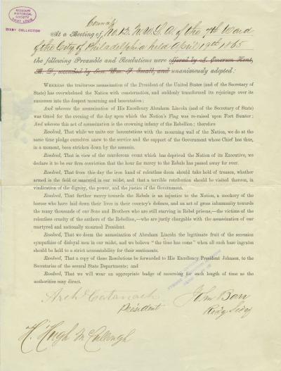 Resolution passed by the 7th Ward of the City of Philadelphia relating to the assassination of the late President Lincoln, April 19, 1865