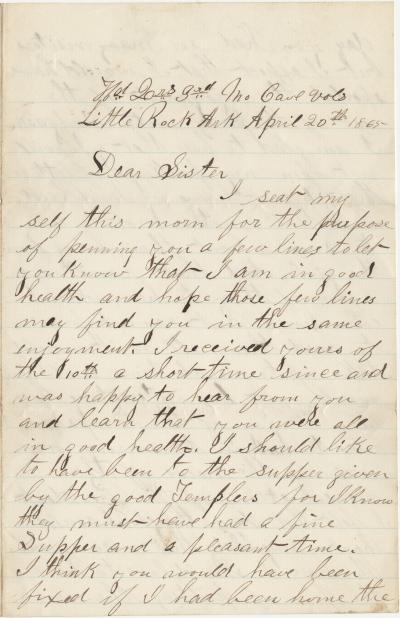 Letter from William H. Kesler, 3rd Missouri Cavalry, to his sister Rose Ann Kesler