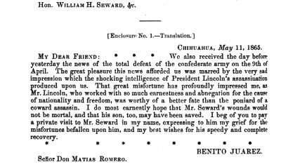 Mexican President Benito Juarez Response to the Lincoln Assassination