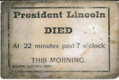 Card – President Lincoln Died