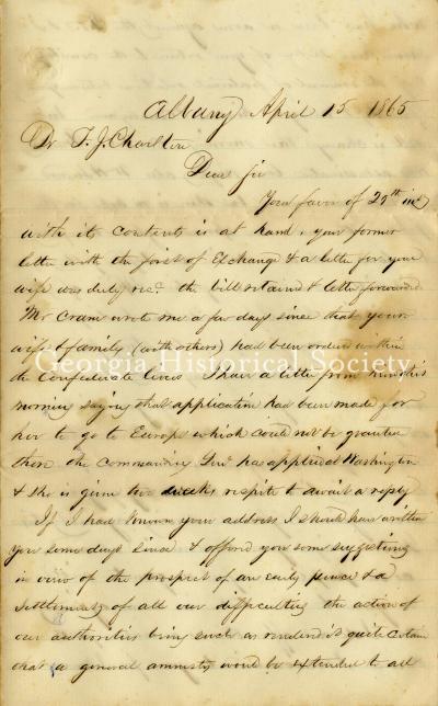 Horace Averill Crane letter