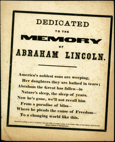 Dedicated to the Memory of Abraham Lincoln...America's noblest sons are weeping