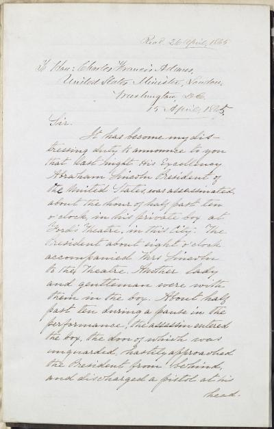 Dispatch, Edwin Stanton to Charles Francis Adams