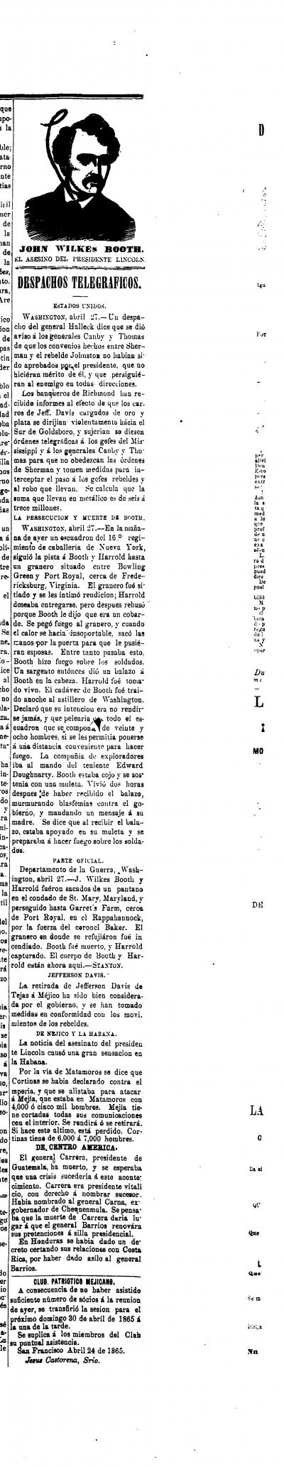 John Wilkes Booth, El Asesino Del Presidente Lincoln: Despatchos Telegraficos