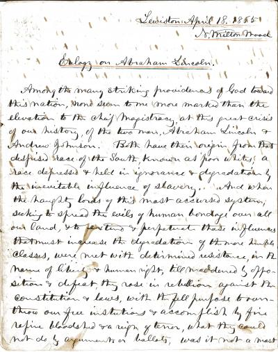 Eulogy – Handwritten Eulogy on Lincoln N Milton Wood Pt. 1