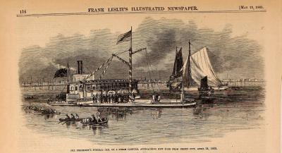 President Lincoln's Funeral Train on a Steamer - Frank Leslie's Illustrated Newspaper Drawing