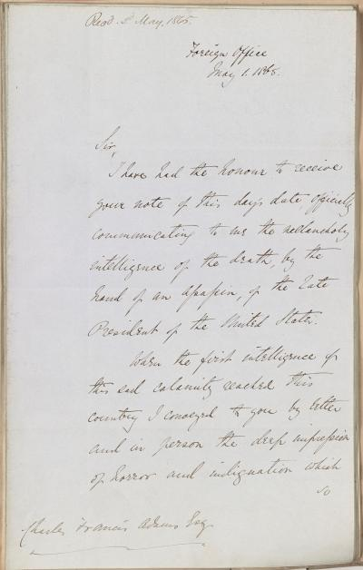 Foreign Minister Earl Russell to Minister Charles Francis Adams