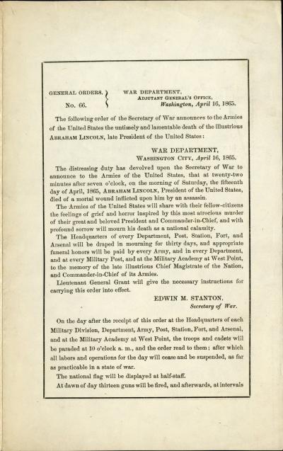 Printed General Order no. 66 - Department of War.
