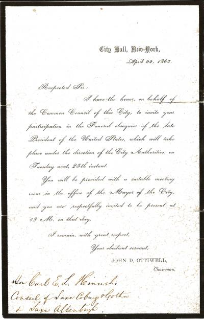 Letter- Invitation to Lincoln Funeral New York