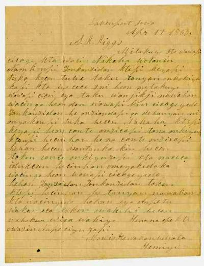 Letter from Moses Many Lightning Face to S. R. Riggs from Davenport, Iowa