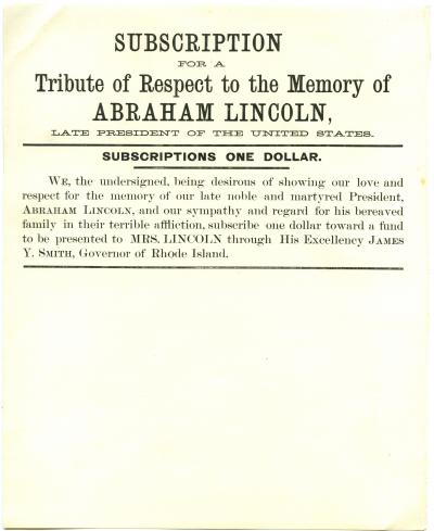 Subscription for a Tribute of Respect to the Memory of Abraham Lincoln, Late President of the United States
