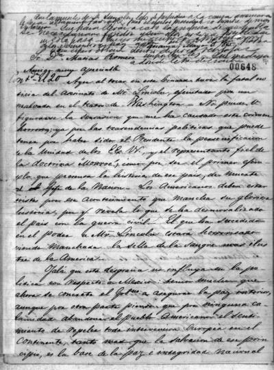 Letter to Mexican diplomat Matias Romero from G. Barrios