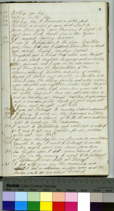 Handwritten Diary of Quincy A. Moore,1866, 1869