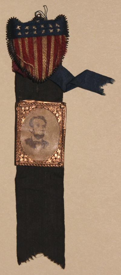Mourning Ribbon with Shield and Photographic Portrait of Lincoln