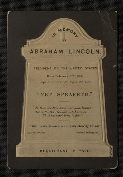 Mourning Card in Memory of Lincoln