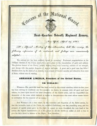 Circular from Veterans of the National Guard (New York City)