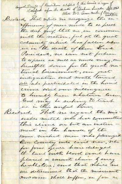 Draft of resolutions adopted by the Union League of Hartford