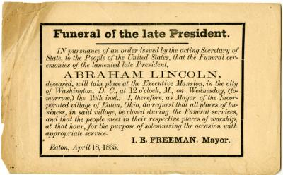 Abraham Lincoln funeral announcement for Eaton, Ohio