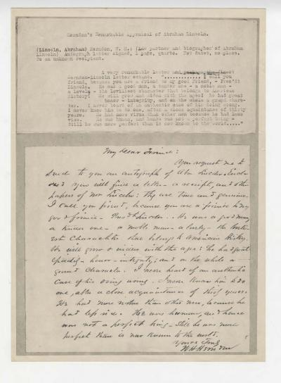 A letter William H. Herndon to an unknown person