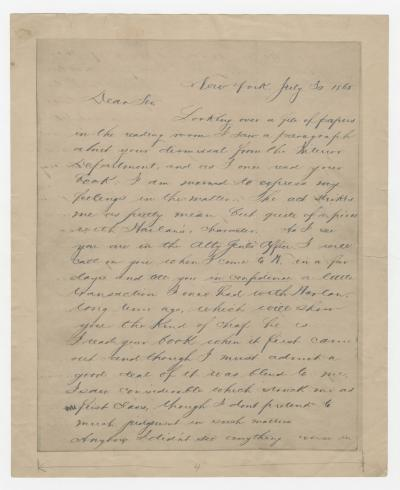 A. Van Rensellaer to Walt Whitman