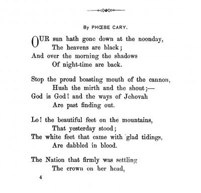 Phoebe Cary Poem on Lincoln's Death
