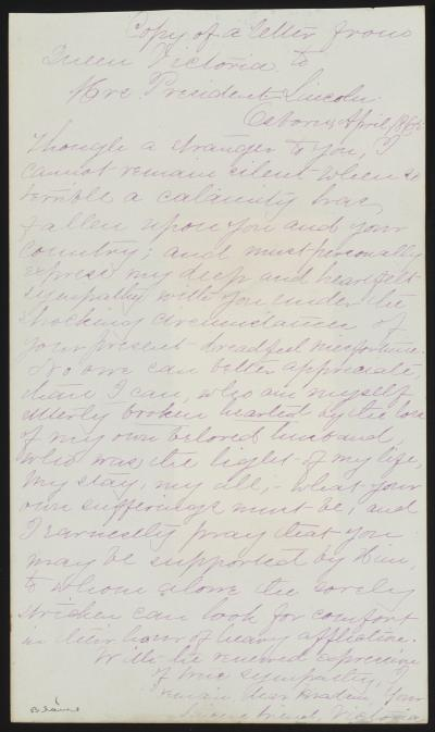 Letter to Mary Todd Lincoln from Queen Victoria