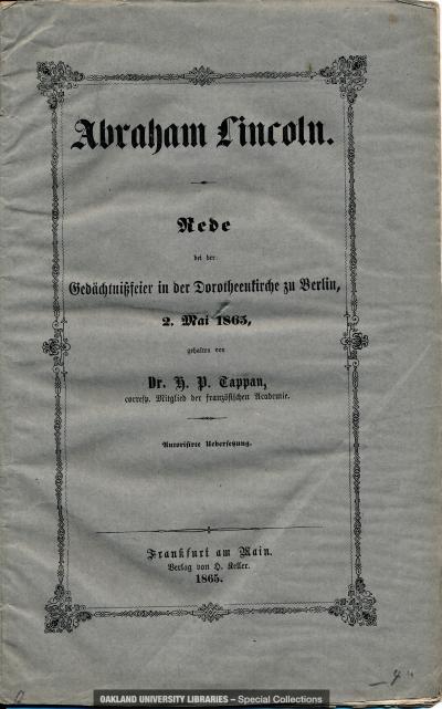 Abraham Lincoln: Rede bei der Gedachtnissfeier in der Dorotheenkirche zu Berlin