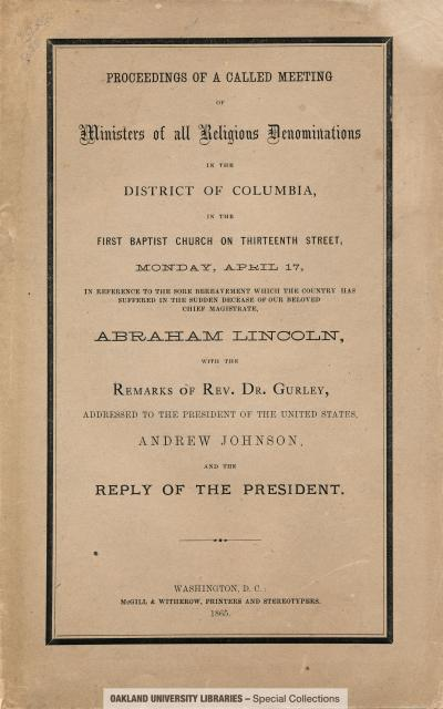 Proceedings of a called meeting of ministers of all religious denominations in the District of Columbia, in the First Baptist Church on Thirteenth Street, Monday, April 17