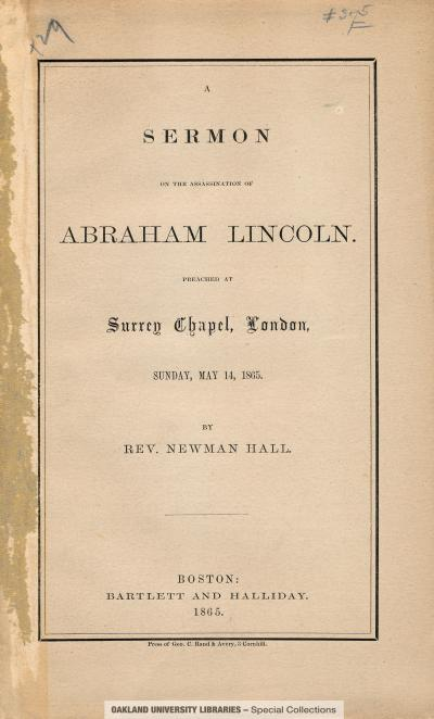 Sermon on the Assassination of Abraham Lincoln