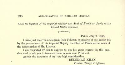 From the Legation of His Imperial Majesty the Shah of Persia