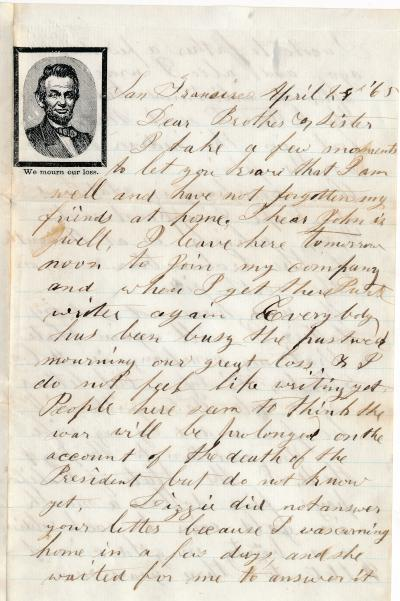Letter from Danson C. Tolman 8th Infantry to his sister April 24, 1865