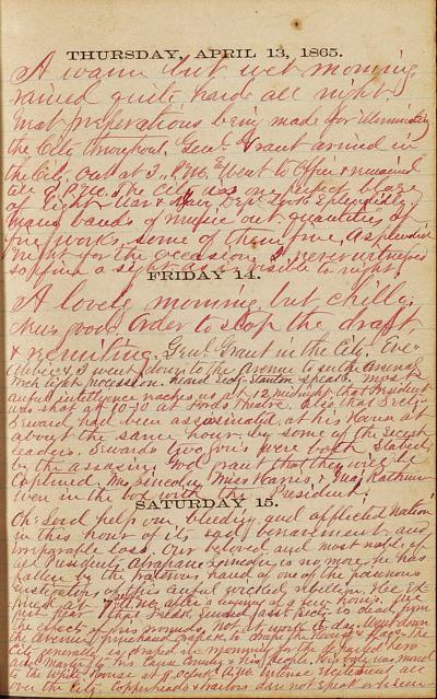 Otis Keene Diary, April 15, 1865