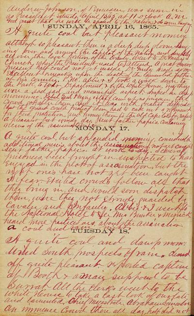 Otis Keene Diary, April 16-18, 1865