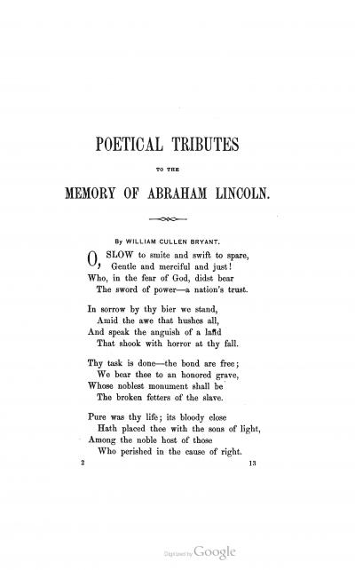 Poetical Tribute to President Lincoln - William Cullen Bryant