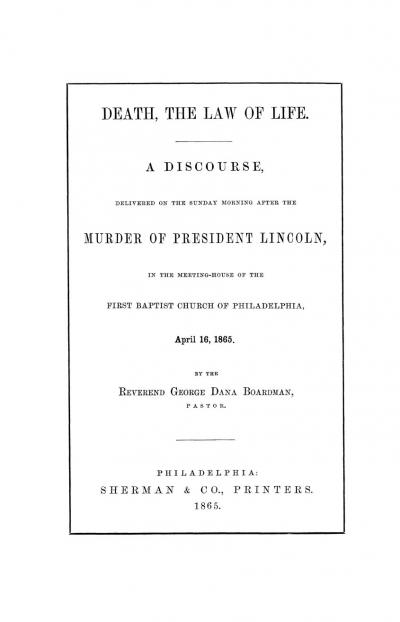 Death, the Law of Life