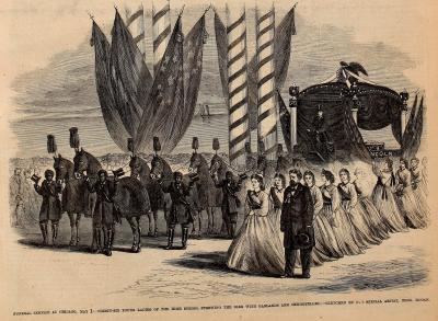 President Lincoln's Funeral Service in Chicago, IL - Frank Leslie's Illustrated Newspaper Drawing