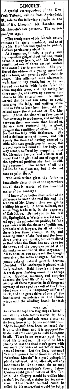 LINCOLN: San Antonio Express - March 2, 1867