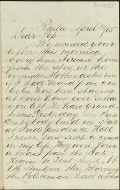 Letter to Benjamin Thackara from A. M. Thackara, April 24, 1865.