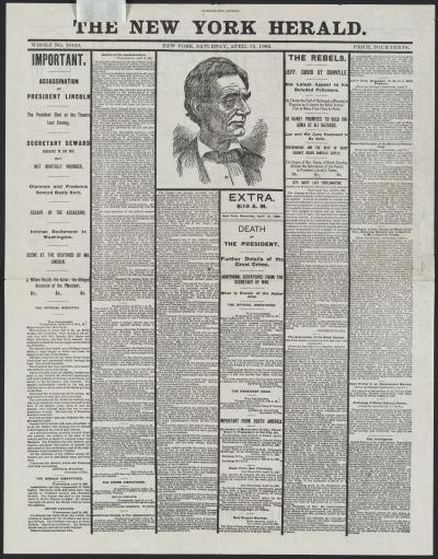 The New York Herald, [newspaper]. April 15, 1865