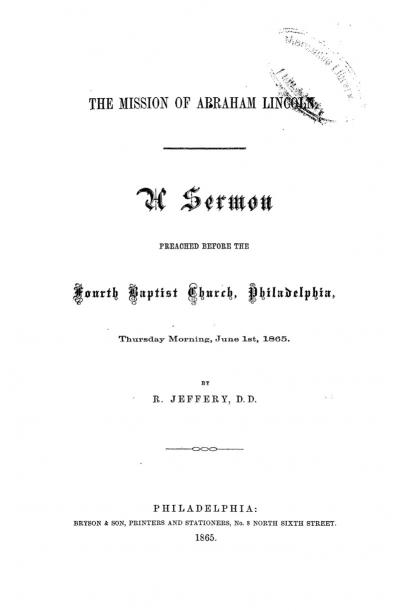 The Mission of Abraham Lincoln