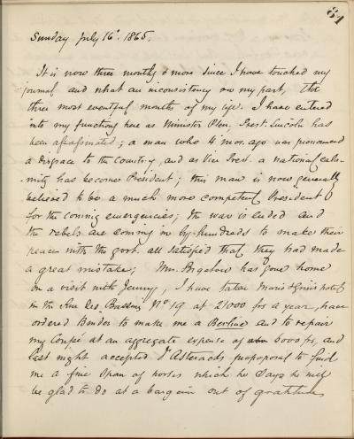 John Bigelow Diary Entry