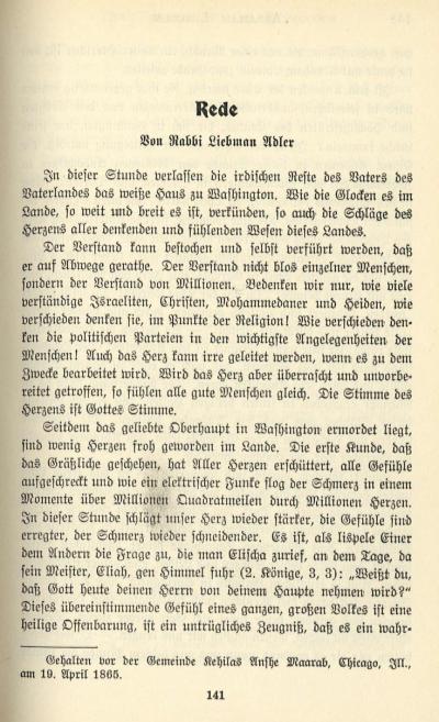 Liebman Adler sermon