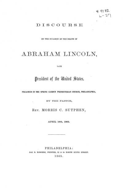 Discourse on the Occasion of the Death of Abraham Lincoln