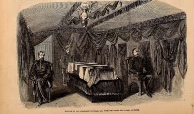 President Lincoln's Funeral Train, Interior - Frank Leslie's Illustrated Newspaper Drawing