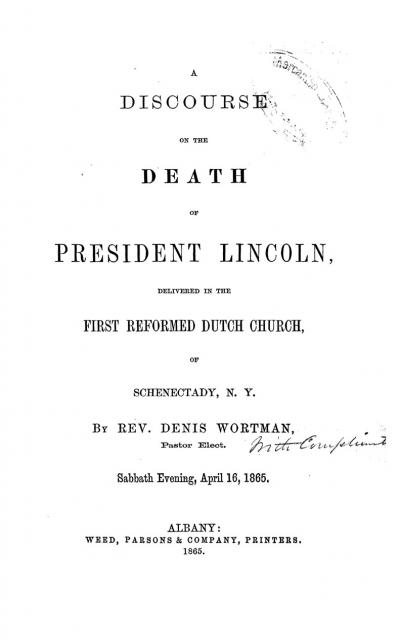 A Discourse on the Death of President Lincoln