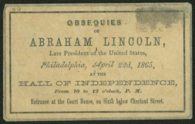 Union League of Philadelphia Funeral Invitation Ticket