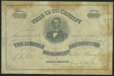 Lincoln Monument Association of Philadelphia Certificate