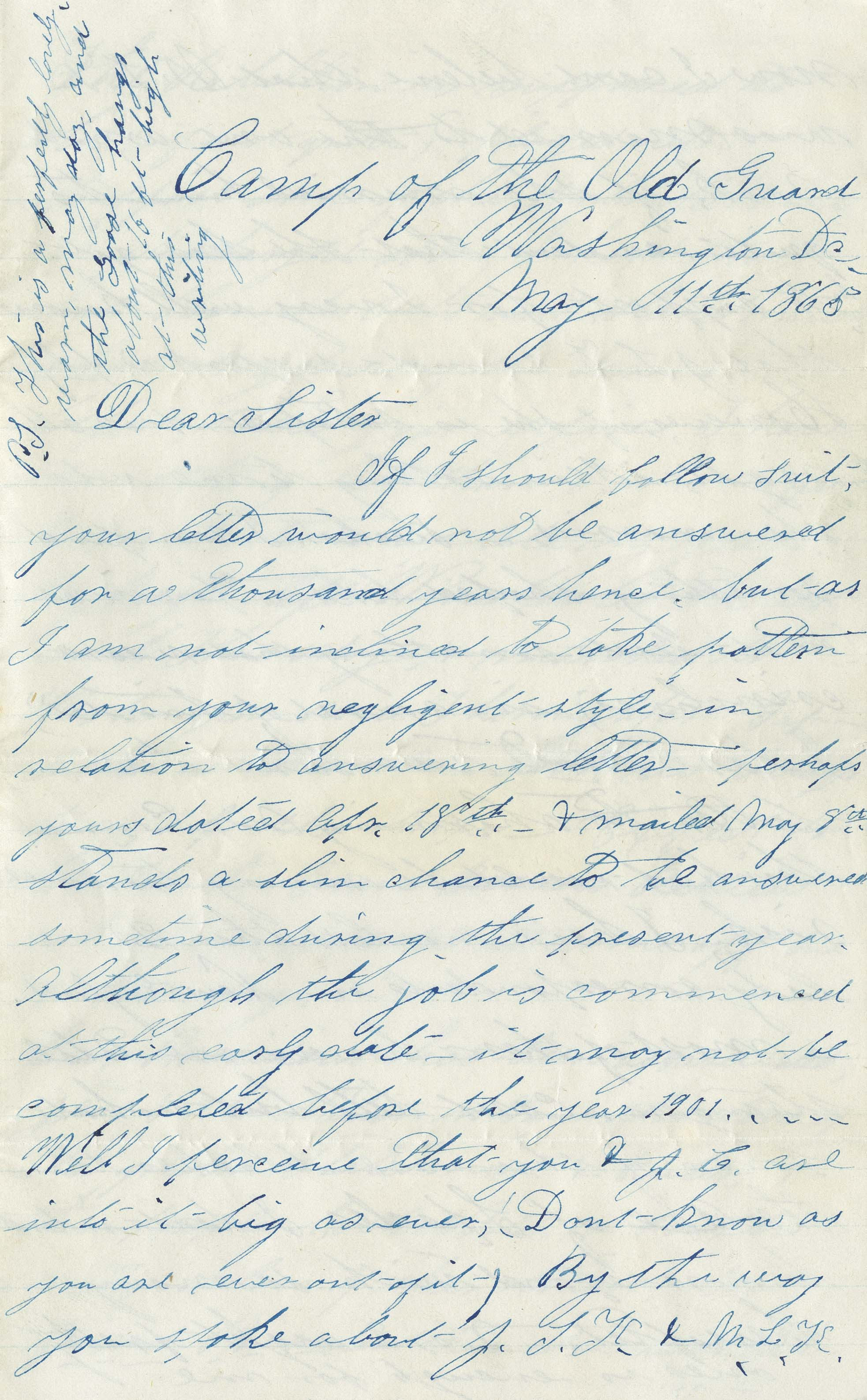 Letter from William H. White to his sister, May 11, 1865