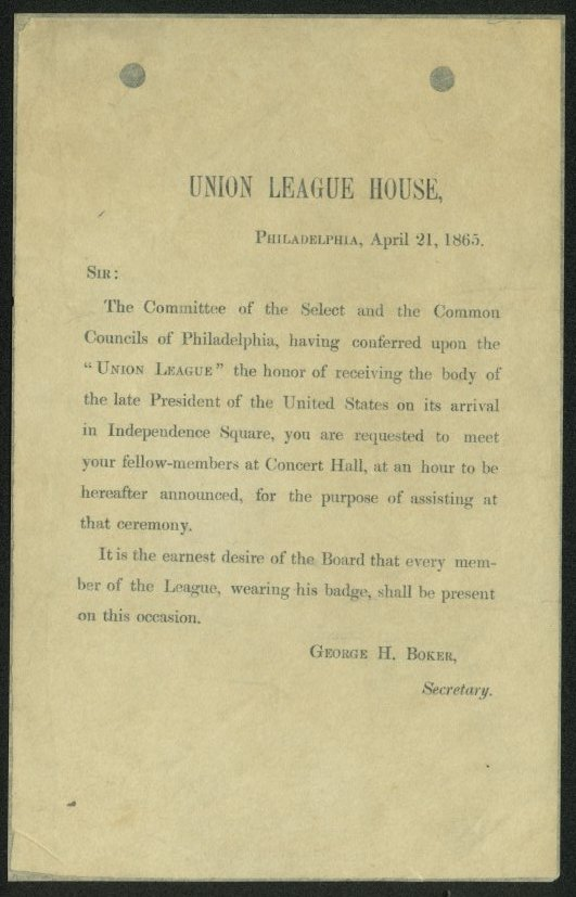 Union League of Philadelphia Funeral Invitation Letter – Invitation to a Funeral